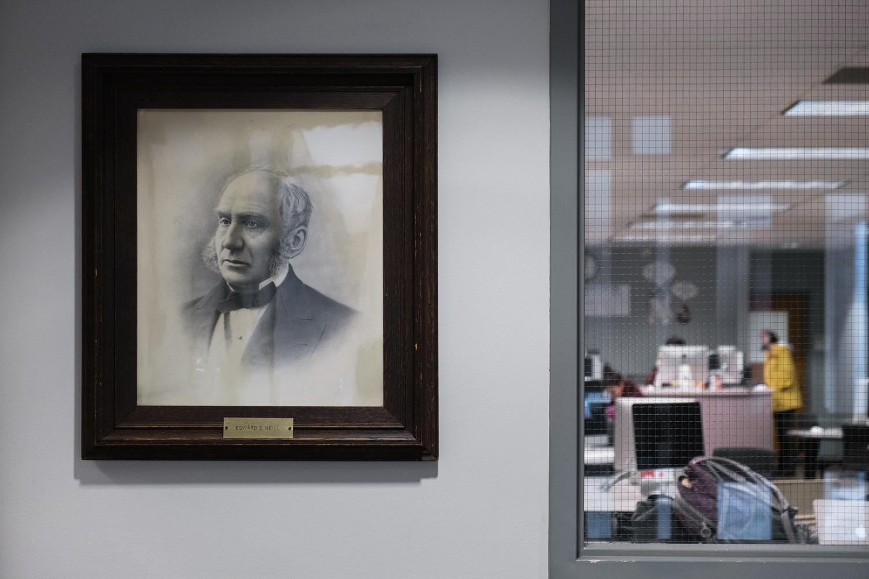 Neill's portrait in the Humanities Building. Photo by Kori Suzuki '21.