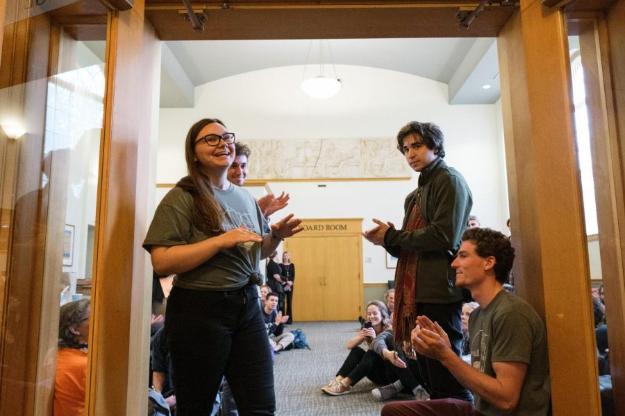 Ana Gvozdić '20 and other Fossil Free Mac activists after announcing the board of trustees decision. Photo by Kori Suzuki 21.