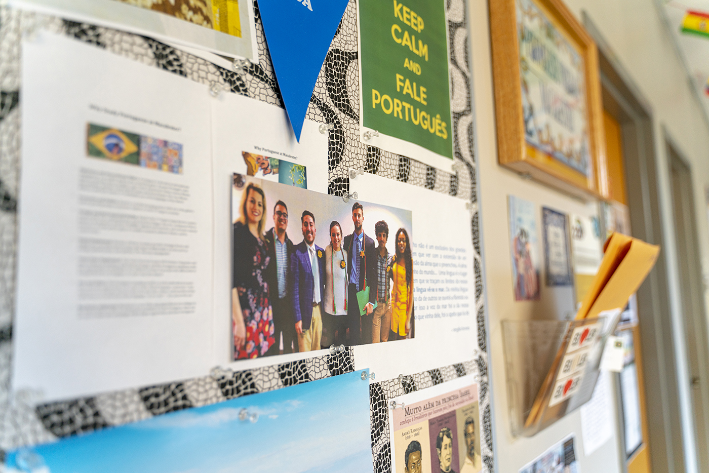 The wall outside the Portuguese program office. Photo by Owen Pearlman '23.