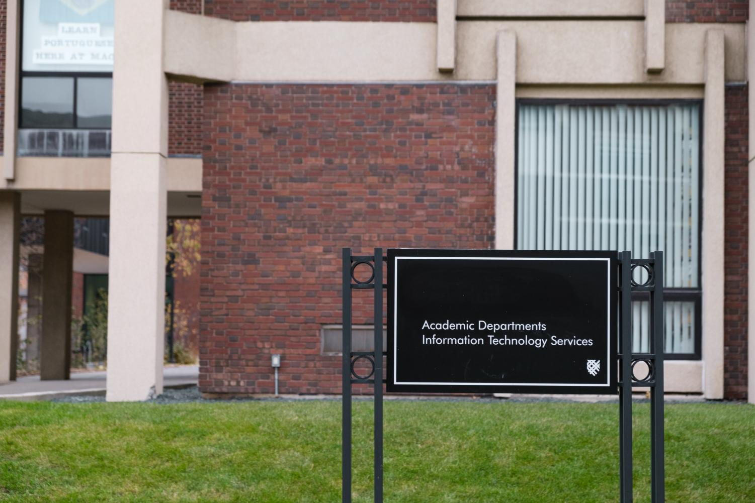 The sign outside of the Humanities Building no longer reads