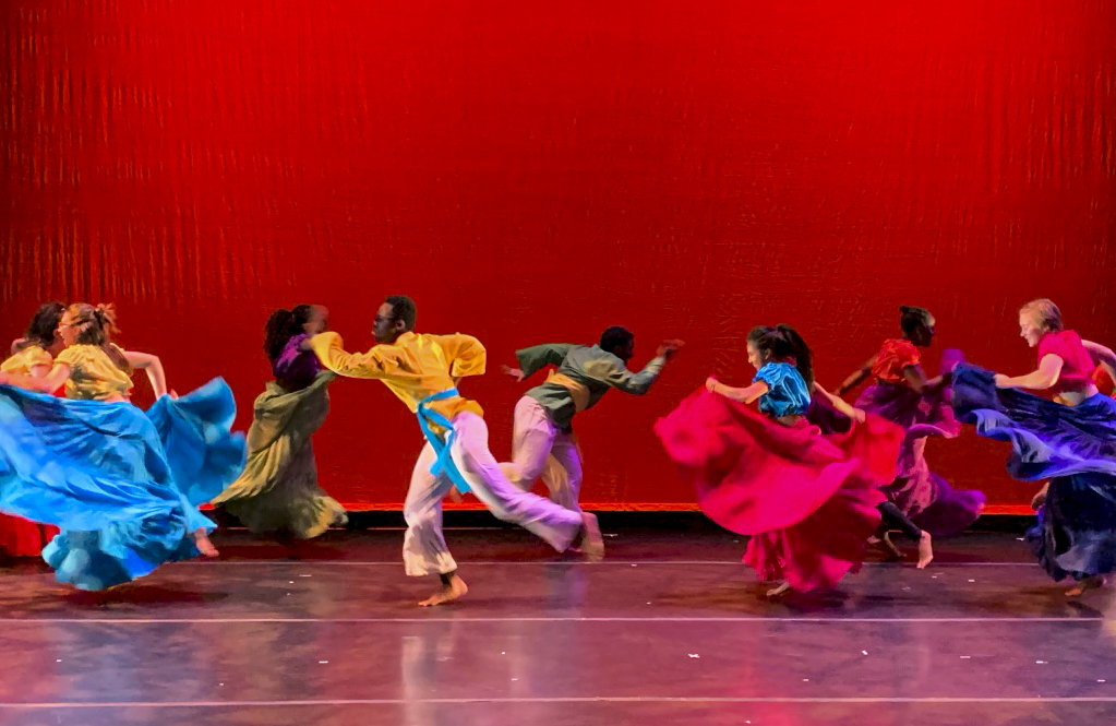 """Students perform a piece titled """"JOY"""" choreographed by Patricia Brown. Photo by Isabel Saavedra-Weis '23."""