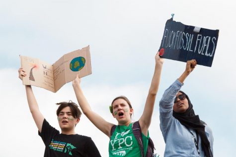 Activists raise signs at the Twin Cities Youth Climate Strike in Fall of 2019. Photo by Kori Suzuki '21.
