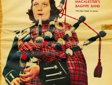 20th century magazine depicting a Macalester bagpiper. Photo courtesy of the Macalester Archives.