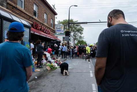 Hundreds gather to protest the death of George Floyd at the intersection where a Minneapolis police officer used a knee to hold him down by the neck on May 25th. Photos by Kori Suzuki
