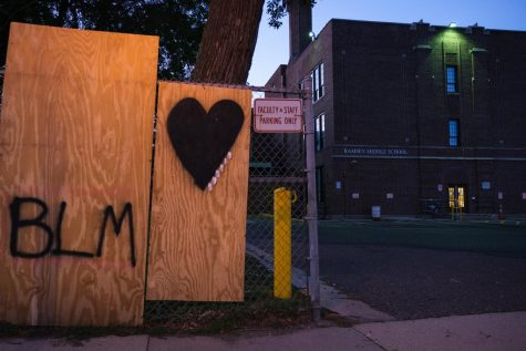 BLM signs outside of Ramsey Middle School. While the school is part of SPPS, there are currently no SROs stationed there. Photo by Kori Suzuki