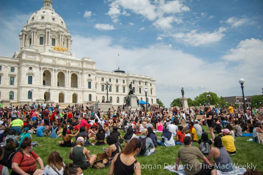 Crowd on the capitol lawn. Photo by Morgan Doherty '21
