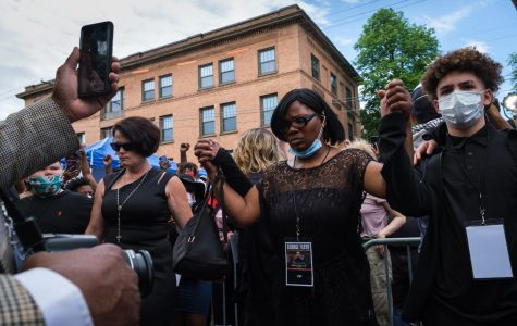 Hundreds gathered outside North Central University in Minneapolis Thursday afternoon as family and friends of George Floyd held a memorial inside. As they left the chapel, Mel Reeves, Toshira Garraway and a number of local activists turned and spoke to the crowd.