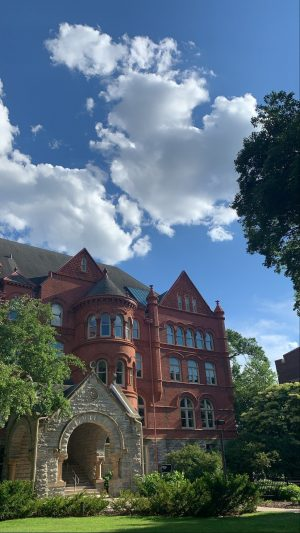 Old Main on a summer day. Photo by Morgan Doherty '21.