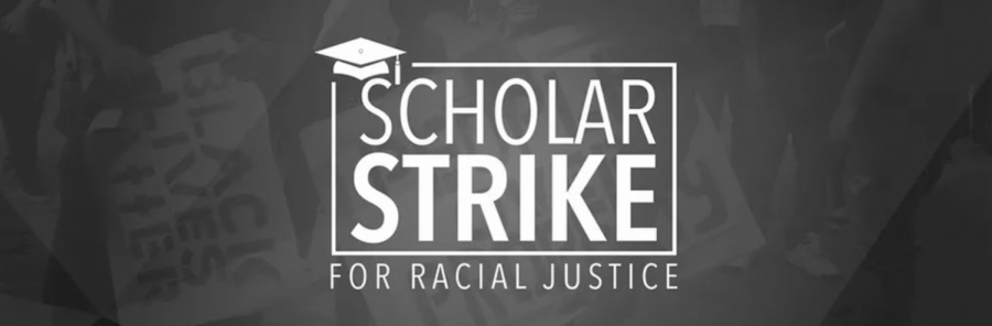 Logo of the Scholar Strike event.