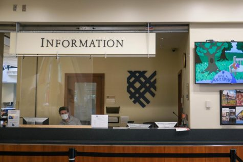 The info desk at the Campus Center. Photo by Malcolm Cooke
