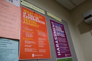 Sexual assault resource poster. Photo by Malcolm Cooke '21.