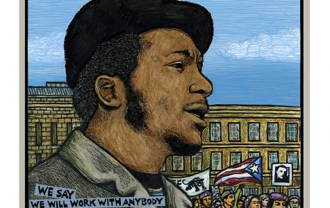 "Chairman Fred - Rainbow Coalition"" created by Morales in honor of the movement's founder Fred Hampton. Photo courtesy of Ricardo Levins Morales."