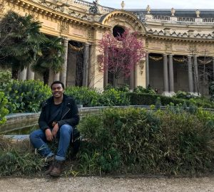 Kai Davis in the courtyard of Petit Palais. Photo by Elinor Jones '21.