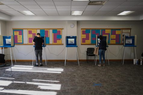 Voters fill out their ballots at Macalester Plymouth United Church on Election Day, November 3, 2020. Photo by Kori Suzuki