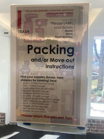 A sign in the dorms instructs students to pack out as much as possible. Photo courtesy of Hannah Scharrer