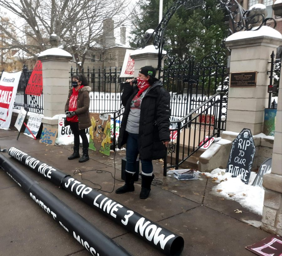 Speakers at the governor's mansion denounce Line 3 in a protest last November. Photo by Estelle Timar-Wilcox '22.