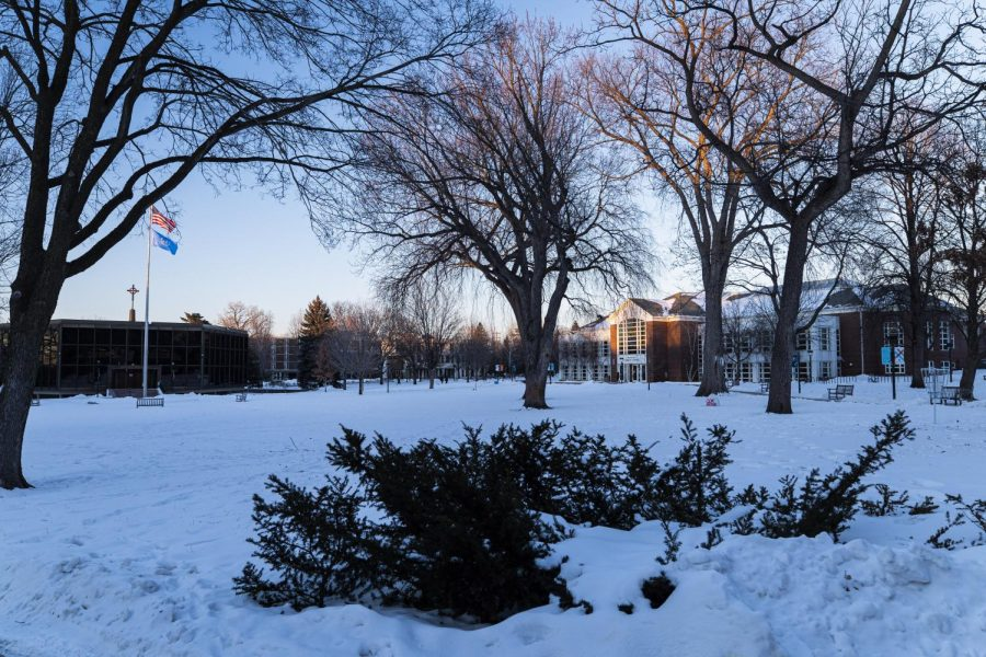 Macalester campus shrouded by snow. Photo by Celia Johnson '22.