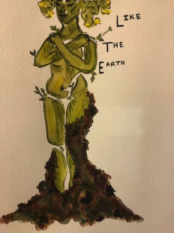 Watercolor graphic for Marston-Lari's upcoming Macalester theater production Como la Tierra. Art by Gretta Marston-Lari '21