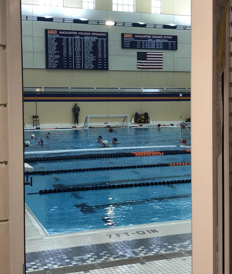Macalester swim practice, dive practice, and Women's water polo have been taking place at Riley Pool since January after Minnesota gyms were shut down last November. All-student lap swim is once again available as of this week. Photo by Libby Sykes '22.