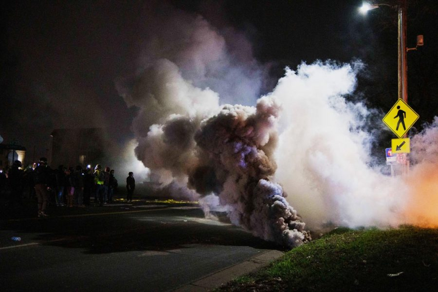 Police shot teargas into the crowd of protesters outside the Brooklyn Center Police Department. Photo by Kori Suzuki '21.