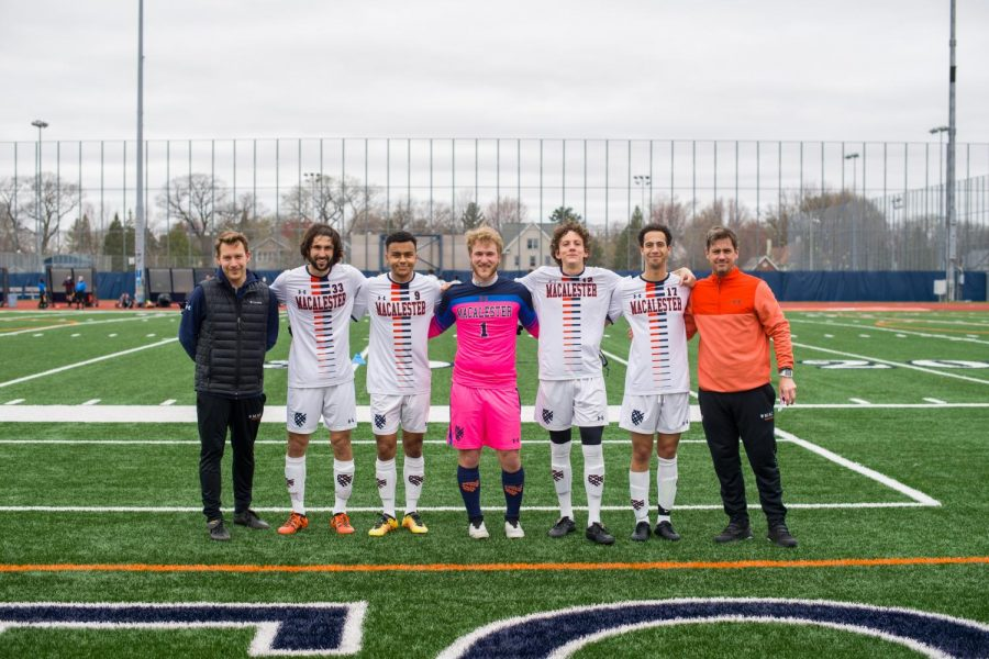 Those photographed from left to right: Assistant Coach Josh Roy, Etienne Chenevert '21, Theo Nsereko '21, Cade Fink '21, Aidan Keefe '21, Sabri Fair '21, and Head Coach Gregg Olson  Photo by Christopher Mitchell