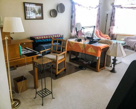 A makeshift recording studio Cogen set up at her grandmother's house in November. Photo by Milly Cogen '21.